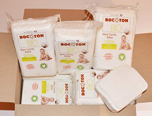 Pack 720 Maxi Cuadrados Bebé Tamaño 90 x 110 mm, doble cara 100% algodón natural biológico más suave que un algodón lavable, económico y práctico, una cara mini rayas, una cara suave.