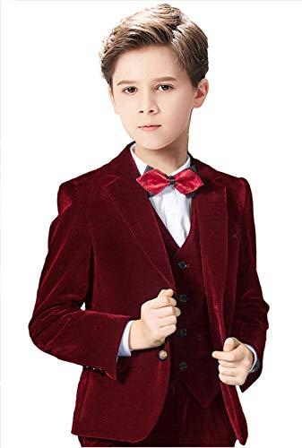 Yavakoor Velvet Blazer for Boys Classic Suit Jacket Toddler Stretch Sports Coat Burgundy Size 7