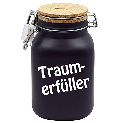 Spardose Traum-Erfüller Wunschtraum/Follow Your Dreams Geld-Geschenk-Idee in Schwarzem Glas XL