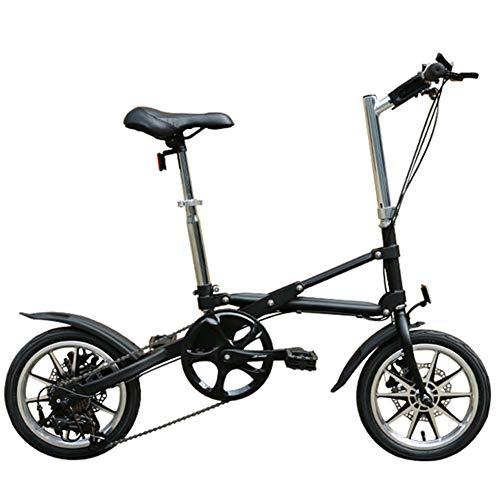 Bicicleta De Velocidad Plegable De 14 Pulgadas - Bicicleta Plegable para Adultos - Bicicleta Plegable Rápida Mini Bicicleta Portátil De Pedal para Adultos,Negro