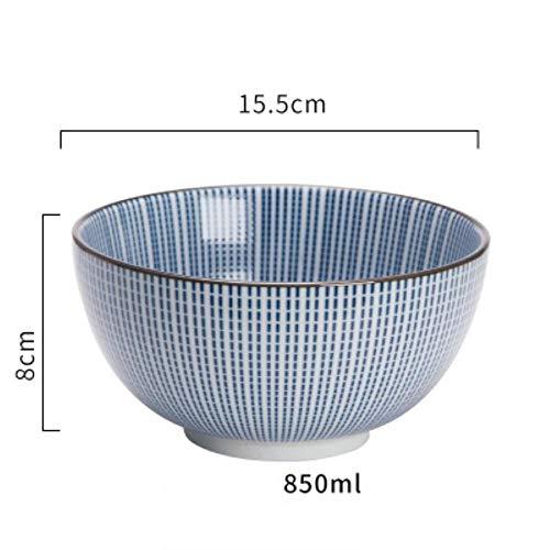 Houer Japanse stijl Klassieke keramische blauwe en witte keuken Rijstkom Grote Ramen Soepkom Lepel Kleine thee Servies Milieuvriendelijk, 6 inch komB