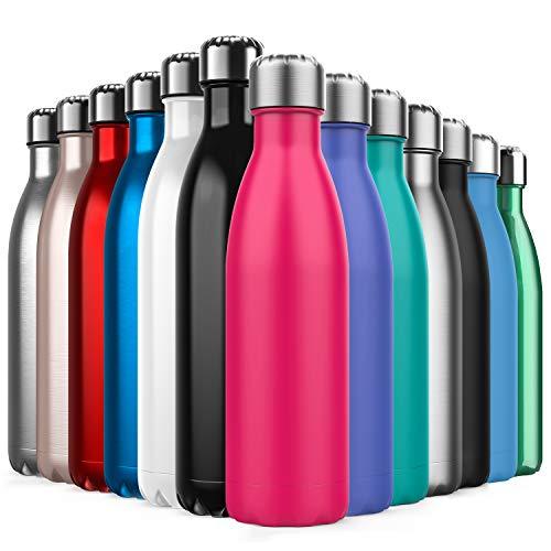 BICASLOVE Botella de Agua de Acero Inoxidable,Diseño de Pared Doble,Boca EstáNdar,para Correr,Gimnasio,Yoga,Ciclismo,500ML,Rosado