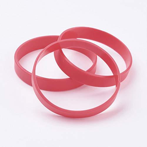 LIUL 50 Piezas de Pulseras de Silicona Pulseras Pulsera de cordón Pulsera de Banda elástica Regalos para Hombres Mujeres Verano, Rojo, 63mm 12x2 mm