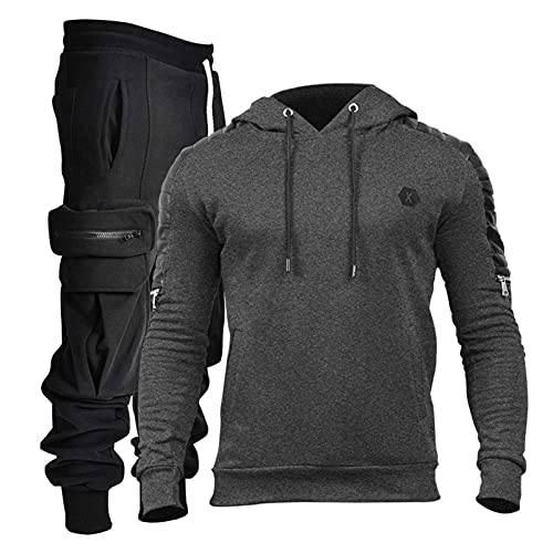 Field Sports Sports Mens Completo de 2 Piezas, Pantalones de Tela Transpirable de algodón Contiene Dos Bolsillos Profundos, Pantalones de Moda Set Joggers s ~ 3XL Dark gray2-L