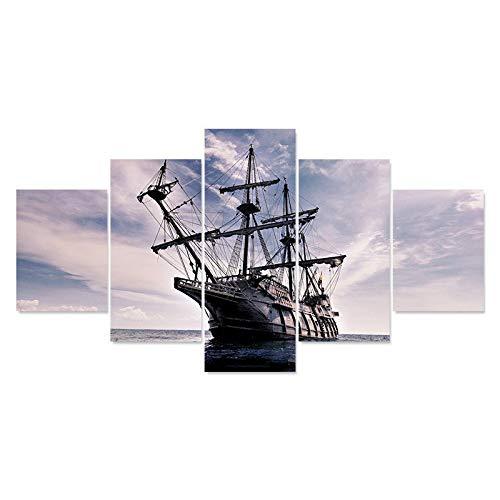 FGVBWE4R Home Decor Print Malerei für Wohnzimmer 5 Panel Europäischen Klassischen Schiff Auf Meer Landschaft Modularen Bilder Plakatrahmen Canvas-XXL