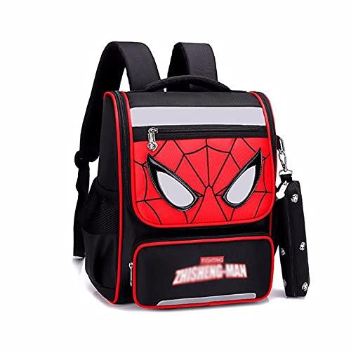 Xyh723 Mochila Escolar para Niños Spiderman para Libros De Escuela Primaria Unisex Viajes Escolares Mochila De Viaje Superhéroe Cómoda Maleta Regalo,Black-L