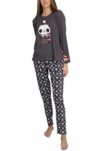 ADMAS Pijama Manga Larga Cool Panda para Mujer, Color Marengo, Talla XL
