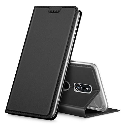 Verco Handyhülle für Xperia XZ2, Premium Handy Flip Cover für Sony Xperia XZ2 Hülle [integr. Magnet] Book Hülle PU Leder Tasche, Schwarz