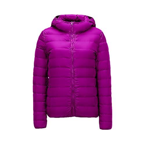 YiiJee Damen Winterjacke Mantel Steppmantel Jacke gefüttert mit Stehkragen Violett 2XL