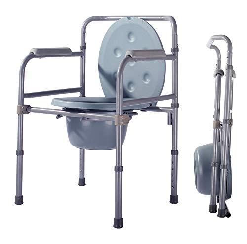 Gxnimer Toilettenstuhl Klappbett Kommode Mobile Stahl Toilette Mit Kommode Eimer Und Spritzschutz, Ältere Menschen, Schwangere, Behinderte
