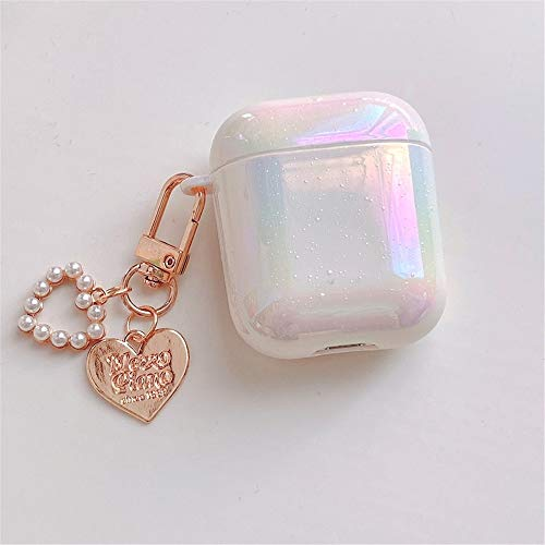 AirPods Case, Airpod Case Love Pearl Shell Keychain Water Drop Rainbow Hard PC Protective Cover Skin Compatible with AirPods 1 2 3 Pro (AirPods 1/2, Shell)