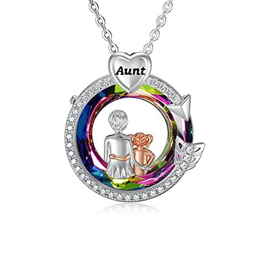 Collar de plata de ley para mujer con tía de cristal regalos de sobrina para tía