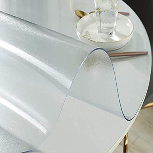 Paño de mesa transparente mate redondo PVC translúcido mesa protector de mesa cojín impermeable duro protector de piso antideslizante alfombra de escritorio de vinilo mate 1.5mm-65cm/25.59in