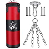 NUBARKO Punching Bag UNFILLED Set Kick Boxing Heavy MMA Training with Hanging Chain Muay Thai Martial Arts (Red)