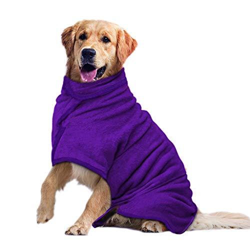 PETTOM Albornoz para Perros Ajustable, Toalla de Secado para Mascotas de Microfibra, Toalla de baño súper Suave Lavable a máquina (L, Morado)