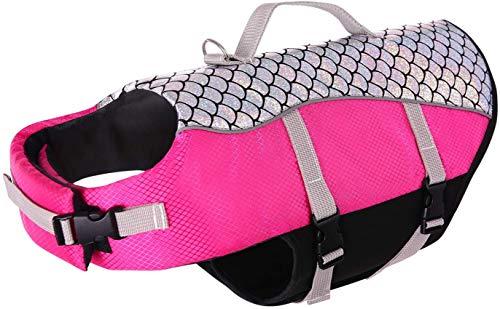 FR&RF Chaleco salvavidas para perro de alta flotación chaleco salvavidas reflectante lindo escala de peces para natación, canotaje, canoa, rosa, L