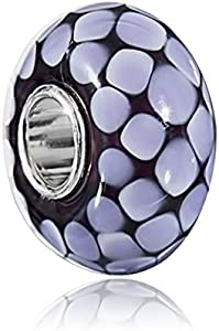 Materia objetos de cristal de murano beads colgante negro Violeta Carré modelo para Beads Pulsera/collar #1254