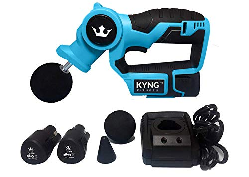 Kyng Fitness Massage Gun Professional Deep Tissue Massager Handheld Massage Gun Percussive Vibration Therapy Deep Tissue Ranked #1 Massager Comes with (2) Powerful Samsung 12 V Li-on Batteries