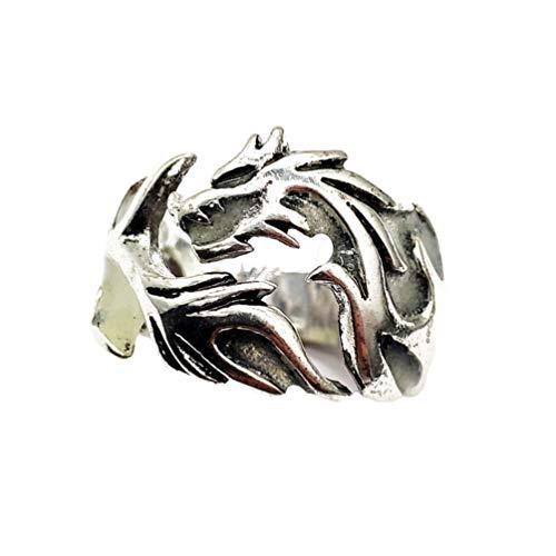 TOYANDONA - Anillo luminoso con dragón punk retro ajustable en el anillo oscuro, anillo para mujeres (color aleatorio)