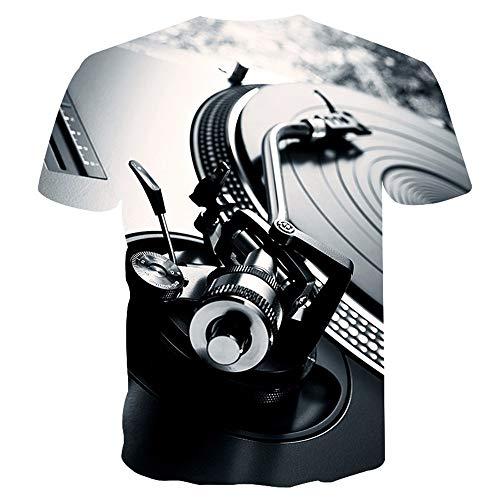 XYL HOME Unisex 3D printen T-shirt persoonlijkheid casual DJ tafel grafische korte mouwen shirt T-shirt