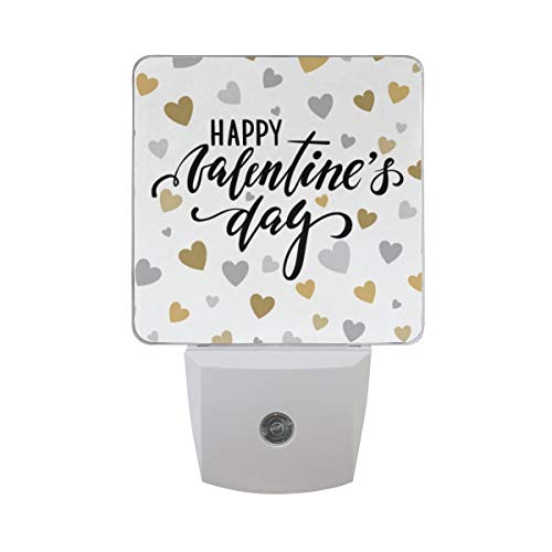 AOTISO Happy Valentine 's Day Letter On Gold and Silver Glitter Hearts Design Auto Sensor Night Light Plug in Indoor