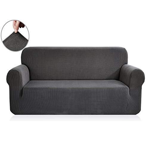 E EBETA Elastisch Sofa Überwürfe Sofabezug, Stretch Sofahusse Sofa Abdeckung Hussen für Sofa, Couch, Sessel 3 Sitzer (Dunkelgrau, 185-235 cm)