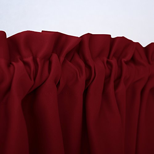 "NICETOWN Small Window Curtain Valances - Pair of Thermal Insulated Plain Blackout Tailored Tier Drapes for Basement (29"" Width x 24"" Length, Burgundy Red)"