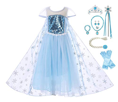 DecStore Kleine Mädchen ELSA Snow Kostüm Kleid Prinzessin Party Kostüm Halloween Kostüm(Blue Style C(with Accessories) 100)