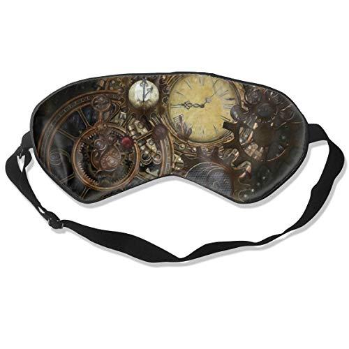 Premium Super Zacht Ademend Oogmasker met Verstelbare Band - Schedel en Kruisbeenderen - Licht Blokkerend Slaapmasker voor Reizen, Nap, Yoga, Meditatie Eén maat Steampunk Klokken