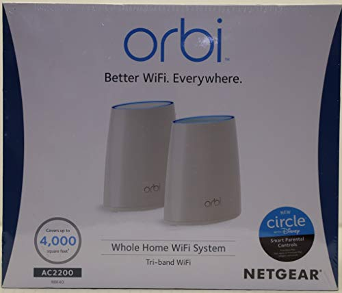 NETGEAR Orbi Whole Home Mesh WiFi System with Tri-band – Wireless router replacement, no WiFi dead zones, Works with Amazon Alexa, Up to 4000 sqft, 2pk (RBK40)