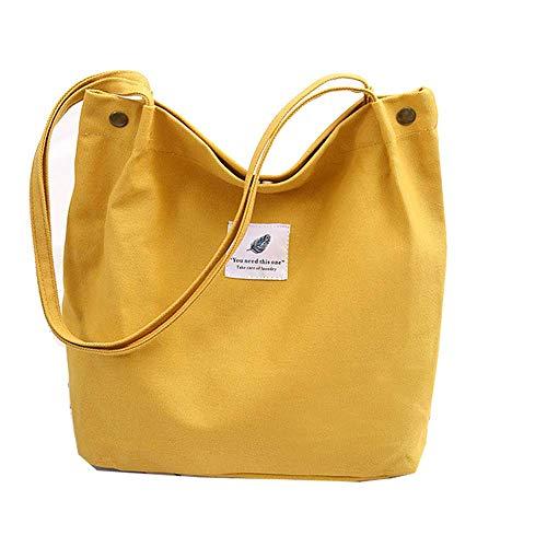 Yidarton Damen Umhängetaschen groß Tasche Casual Handtasche Canvas Chic Damen Schultertasche Henkeltasche für Schule Shopping Arbeit Einkauf (2Gelb)
