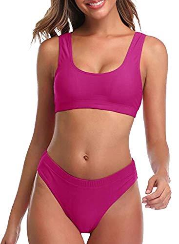 FOBEXISS Tankini, bikini de cintura alta para mujer, traje de baño con control de abdomen, bañador con tirantes push up