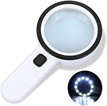 Magnifying Glass, 30X Hand-held Large Magnifying Glass, 12LED Lighting Magnifying Glass for Macular Degeneration, Senior Reading, Welding, Inspection, Coins, Jewelry, Exploration