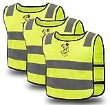 Exporee 3 Pezzi Gilet Sicurezza Bambini, Alta visibilità Riflettore Sicurezza Gilet, Traspirante Taglia Universale Protezione per Ragazzi e Ragazze, Giallo