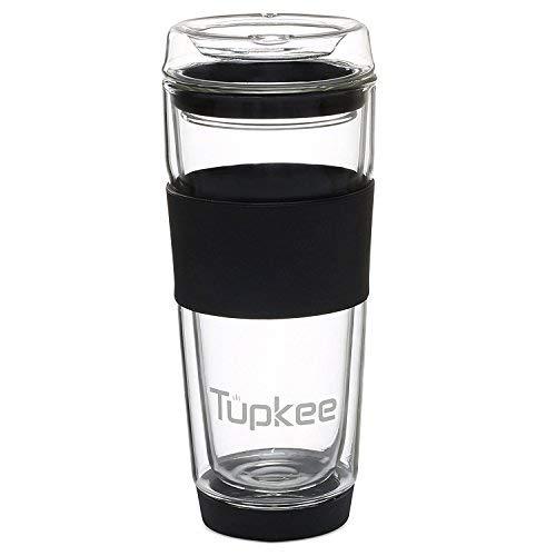Tupkee Double Wall Glass Tumbler - 14-Ounce, All Glass Reusable Insulated Tea/Coffee Mug & Lid, Hand Blown Glass Travel Mug - Black