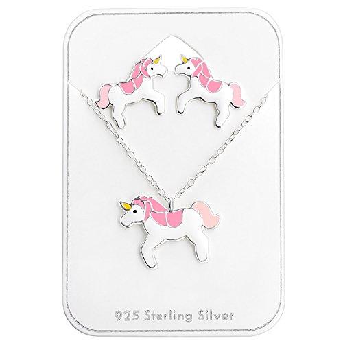 Monkimau Mädchen Halskette Einhorn Anhänger aus 925 Sterling Silver echt Silber mit Ohrstecker Set Emaille Bunt 39cm Kette
