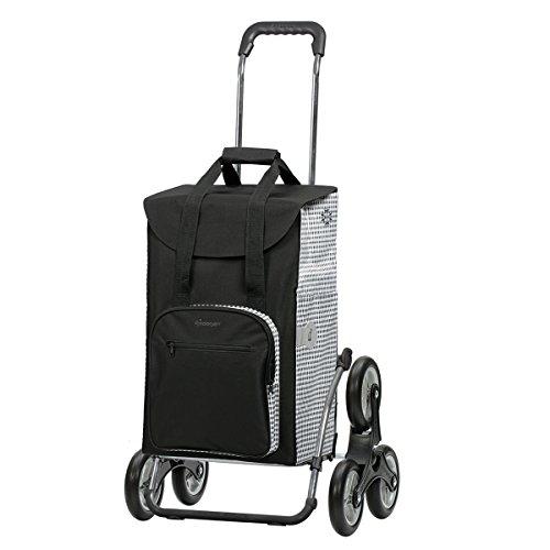 Andersen Einkaufstrolley Royal als Treppensteiger und 45 Liter Einkaufstasche Dante schwarz/weiß mit Kühlfach Einkaufswagen Stahlgestell klappbar