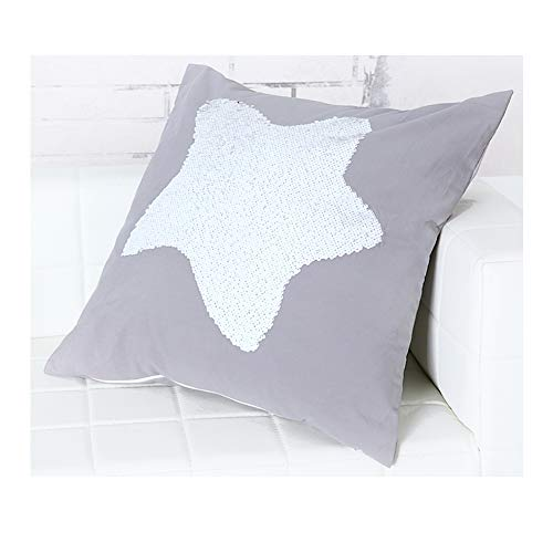 Aitliving Sequins Star Pillow Cover Coastal Starfish Throw Pillow Case 18X18 inch Home Decorating for Party Kids Room Couch Sofa Bed Two-Tone White/Gold Flipped Sequins Reversible Shimmer Pillow Sham