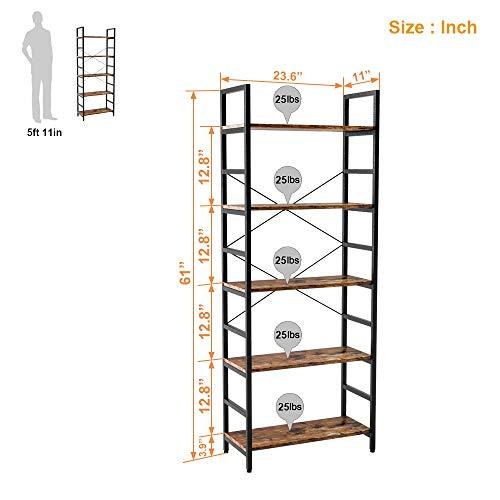 Bestier Bookshelf 5 Tier Bookcase Adjustable Shelves, Multifunctional Display Rack Storage Shelf Organizer Home Office Funiture Shelf P2 Wood Kitchen Storage Shelves Standing Shelf (Rustic Brown)