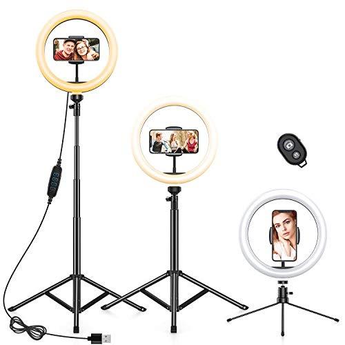 Anozer Luce Tik Tok Anello LED da 10' con Supporto Treppiede per Telefono, Ring Light da Scrivania con 3 Modalità di illuminazione e 10 Luminosità per Streaming live/Videoconferenza/YouTube/Tiktok