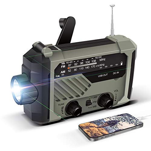 LAMA Solar Radio AM/FM Kurbelradio Notfallradio 2000mAh Powerbank USB Aufladbarer mit Handkurbel Dynamo LED Lampe Leselicht SOS Alarm für Ourdoor Wandern Camping Survival Reisen Notfall Grün