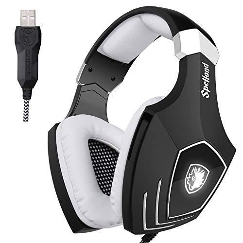 Sades OMG/A60S Over-Ear USB Casque Gaming Gamer Headset avec LED Lumière Contrôle de Volume et Microphone Numérique Amélioré pour PC Mac Computer Laptop(Noir/Blanc)