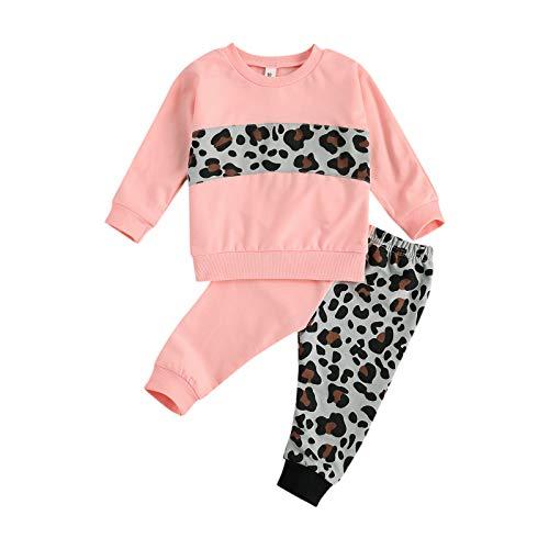 Carolilly Conjunto de 2 piezas de ropa deportiva para niña de algodón, sudadera sin capucha, estampado de leopardo + pantalones deportivos Rosa 3-4 Años