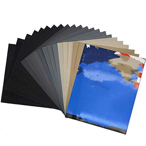 10 hojas 9 '' x11 ''Papel de lija abrasivo de carburo de silicio de 60 a 10000 granos húmedo/seco para lijado de automóviles, acabado de muebles de madera, 120