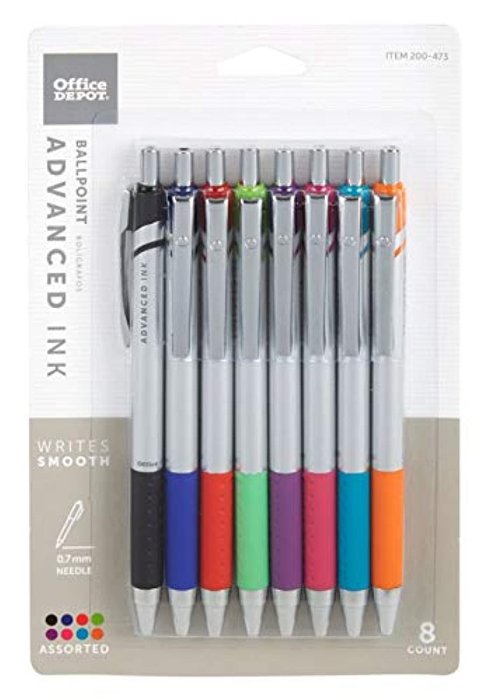 FORAY Advanced Ink Retractable Ballpoint Pens, Needle Point, 0.7 mm, Assorted Barrels, Assorted Ink Colors, Pack Of 8