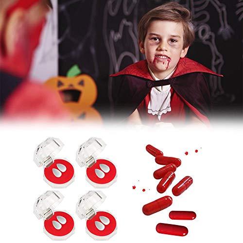arbitra 4 Cajas de Dientes de Vampiro + cápsulas de Sangre para Hombres, Mujeres, Accesorios de Maquillaje, Disfraz de Fiesta de Halloween, Accesorios para dentaduras de Vampiros, Grado Appealing
