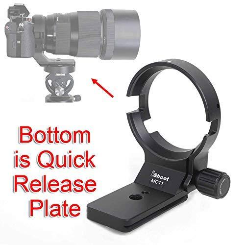 iShoot全金属のリング式三脚座/レンズサポート襟/三脚マウントリングfor SIGMA マウントコンバーター MC-11 キヤノンEF-E用 (キヤノン to ソニーEマウント), ARCA-SWISSタイプのクイックリリースプレート付き, ARCA-