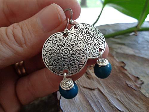 ✿ SEMILLAS ASAI turquesa BOHO de MANDALA ETNO ✿ pendientes exóticos - regalo único - hecho a mano