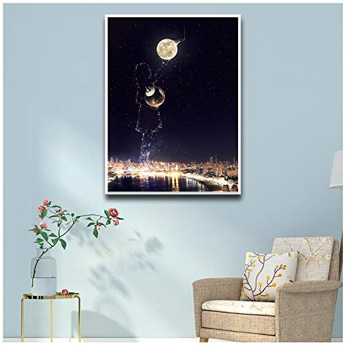 Inversie van de Planeet Canvas Schilderij Print Fotobehang Baby Meisje jongen Kamer Decor Home Decor- 50x70cm geen Frame