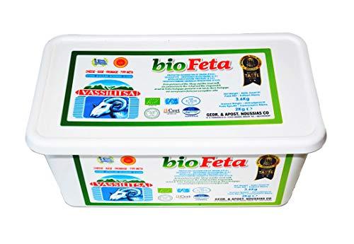 Vassilitsa BIO Feta BIO Schafkäse - 1x 2kg Behälter - BIO Fetakäse BIO griechischer Feta Schafskäse in Salzlake Schaf Käse 43% Fett i.Tr. aus Griechenland Plastikbehälter glutenfrei Halal